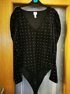 H&M Body koszulowe czarny-srebrny