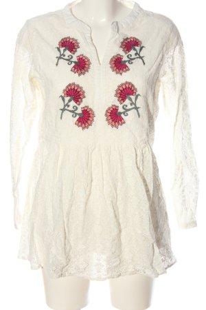 Body Needs Kanten blouse wolwit bloemenprint casual uitstraling