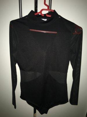 Amisu Blusa tipo body negro tejido mezclado