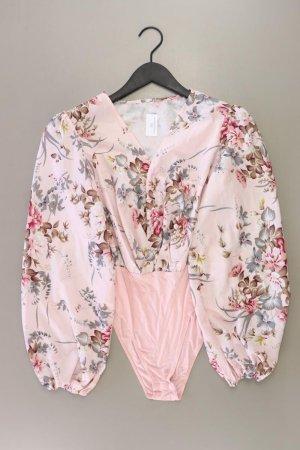 Bodybluse Größe M mit Blumenmuster Langarm rosa aus Polyester