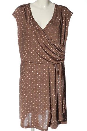 Bodyflirt A-Linien Kleid braun-weiß Punktemuster Casual-Look
