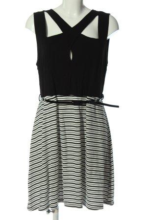 Bodyflirt A-Linien Kleid schwarz-weiß Streifenmuster Casual-Look