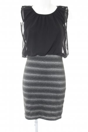 Bodyflirt Blusenkleid schwarz-silberfarben Streifenmuster Elegant