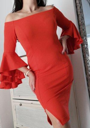 Bodyflirt Kleid  Volant Rot schulterfrei