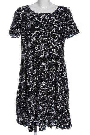 Bodyflirt Kurzarmkleid schwarz-weiß Allover-Druck Casual-Look