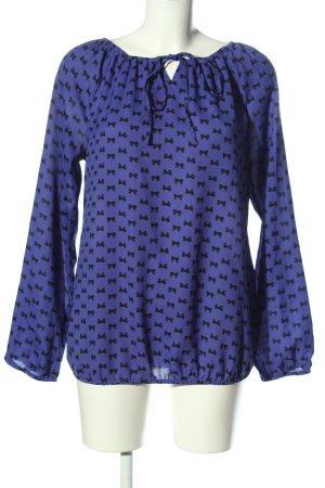 Bodyflirt Langarm-Bluse blau Motivdruck Business-Look