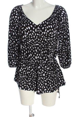 Bodyflirt Langarm-Bluse schwarz-weiß abstraktes Muster Casual-Look