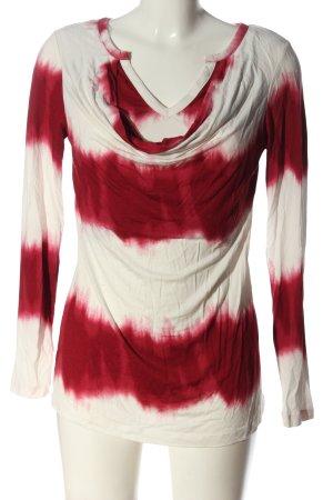 Bodyflirt Langarm-Bluse rot-weiß Streifenmuster Casual-Look