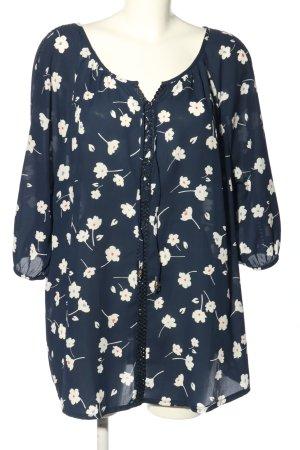 Bodyflirt Schlupf-Bluse blau-weiß Blumenmuster Casual-Look