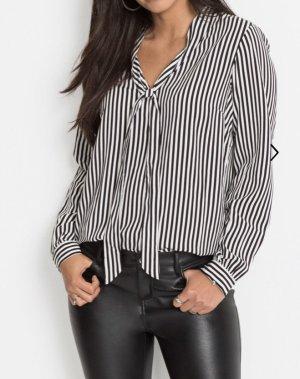 BODY FLIRT Tie-neck Blouse black-white