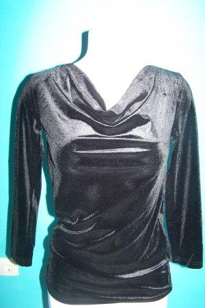BODY FLIRT Koszulka z dekoltem woda czarny Tkanina z mieszanych włókien