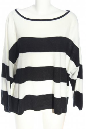 Bodyflirt Strickpullover weiß-schwarz Streifenmuster Casual-Look