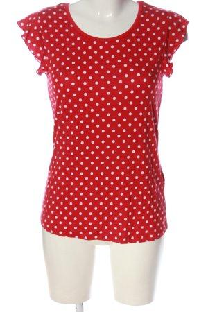 Bodyflirt Gebreid shirt rood-wit gestippeld patroon casual uitstraling