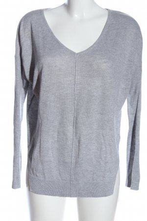 Bodyflirt V-Neck Sweater light grey flecked casual look