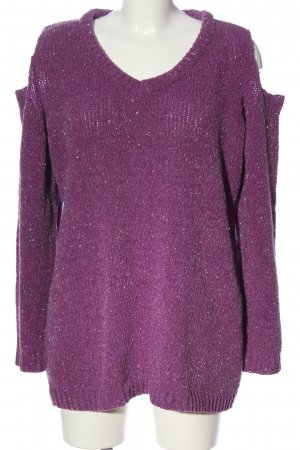 Bodyflirt Sweter z dekoltem w kształcie litery V fiolet W stylu casual