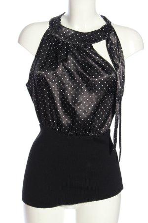Bodyright Blusa senza maniche nero-bianco motivo a pallini stile casual