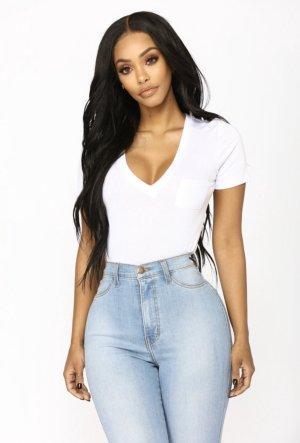 Fashion Nova T-shirt col en V blanc