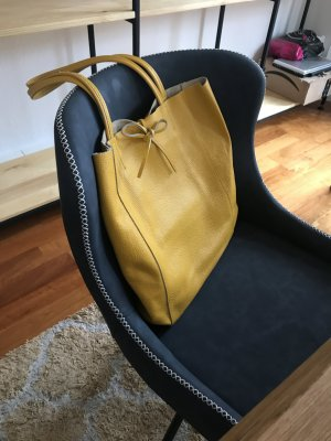Borse in Pelle Italy Shopper yellow leather