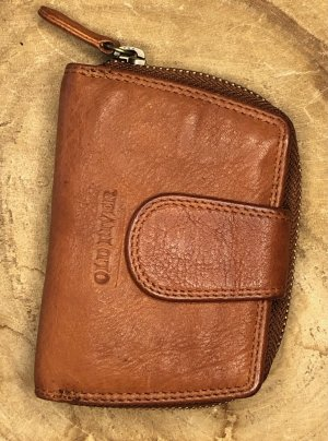 Börse Leder soft Portemonnaie Vintage Look cognacbraun dunkel 12x8 cm