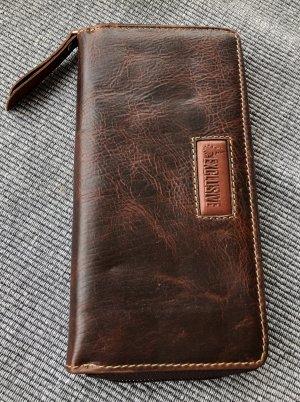 Börse Portemonnaie 2.Wahl Leder Rindleder braun Vintage Look 19x9,8cm 13 Kartenfächer