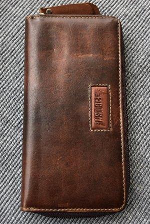 Börse Portemonnaie 2.Wahl Leder Rindleder braun Vintage Look 19x9,8cm Reißverschluß rundherum