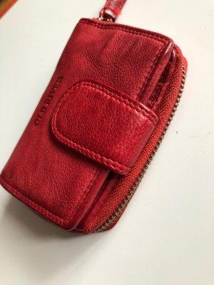 Börse Portemonnaie Leder soft rot Vintage Look 12x8 cm