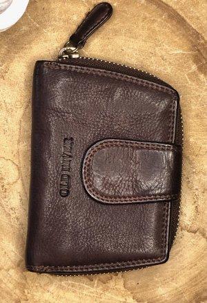Börse Portemonnaie Leder soft schokobraun Vintage Look 12x8 cm