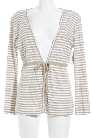 Bogner Cardigan beige-weiß Streifenmuster Romantik-Look
