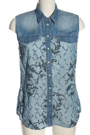 Bogner Jeans Blouse topje blauw-lichtgrijs abstract patroon elegant