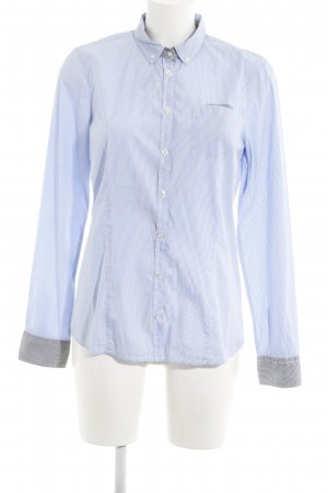 Bogner Jeans Short Sleeved Blouse azure-white striped pattern casual look