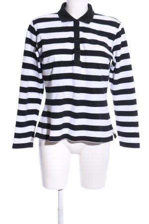 Bogner Jeans Polo-Shirt weiß-schwarz Streifenmuster Casual-Look
