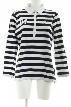 Bogner Jeans Rugby Shirt white-black striped pattern