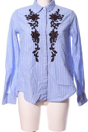 Bogner Langarmhemd blau-weiß Blumenmuster Business-Look