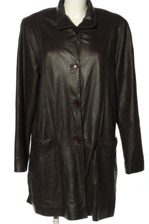 Bogner Manteau en cuir brun style décontracté
