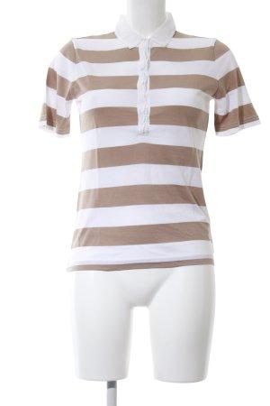 Bogner Polo-Shirt braun-weiß Streifenmuster Casual-Look