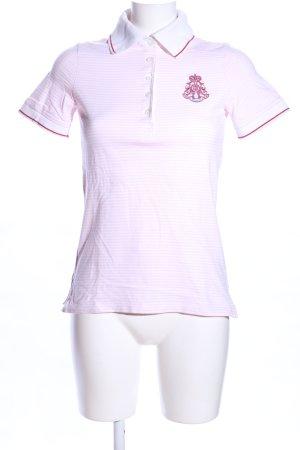 Bogner Polo-Shirt weiß-pink Streifenmuster Casual-Look