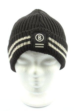 Bogner Pom-pom muts zwart-wit gestreept patroon atletische stijl