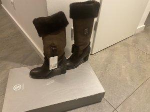 Bogner Fur Boots dark brown-brown