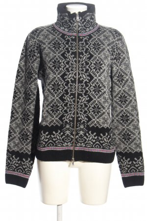 Bogner Strickjacke hellgrau-schwarz Allover-Druck Casual-Look