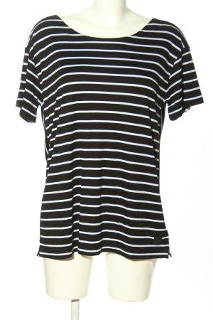 Bogner T-Shirt schwarz-weiß Streifenmuster Casual-Look