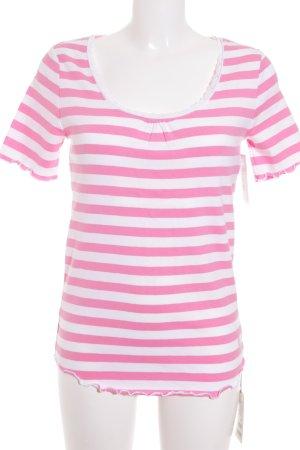 Bogner T-Shirt weiß-pink Streifenmuster Casual-Look
