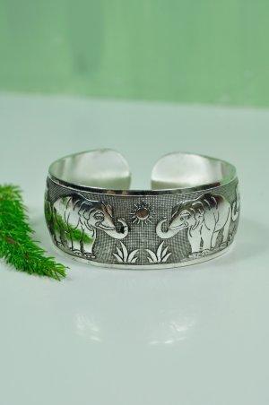 Bohemian Elefanten Armreif Verstellbar in Silber
