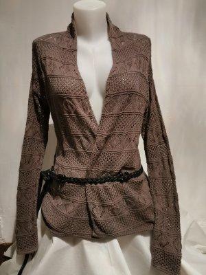 H&M Basic Płaszcz z dzianiny taupe-szaro-brązowy