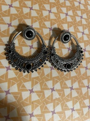 Statement Earrings silver-colored-black