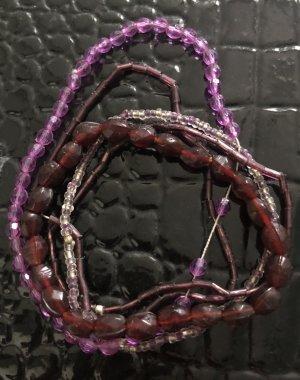 BOHO / Armband Set / 5 Armbänder / Glasperlen / pink / lila / rosa / bordeaux / durchsichtig