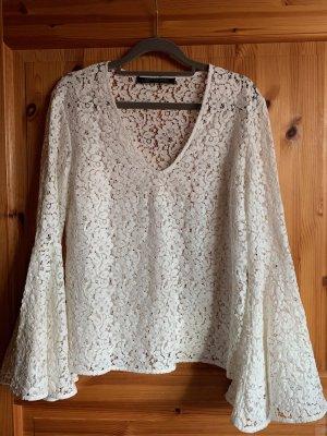 Boho Bluse von Zara in weiß