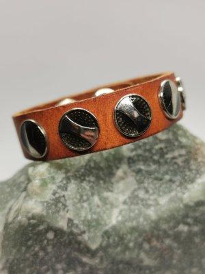 Boho Echtleder Armband mit Verzierungen (Cognac Braun)