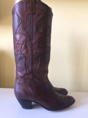 Boots western brun foncé-brun pourpre cuir