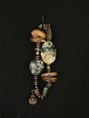 Boho Ethno Hippie Ibiza Armband gold braun bronze grau Steine Perlen