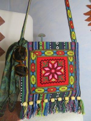 Boho Floral Aztek Tasche handbestickt Holzperlen Fransen Crossbody Bag Vintage